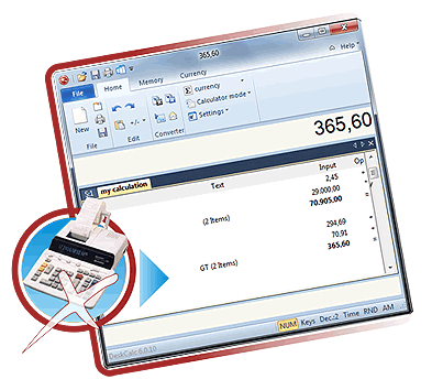 Click to view Deskcalc - Desktop adding machine 7.1.1 screenshot